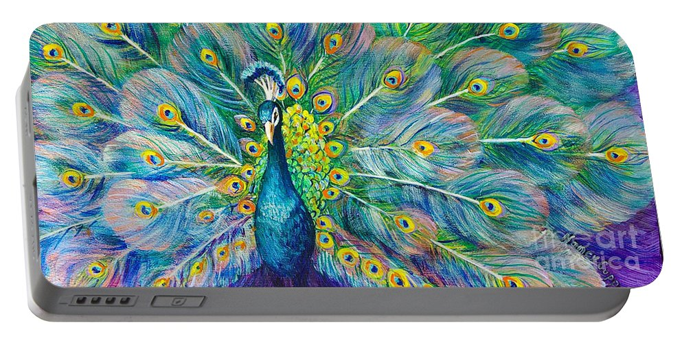 Peacock Portable Battery Charger featuring the painting The Eyes Have It by Nancy Cupp