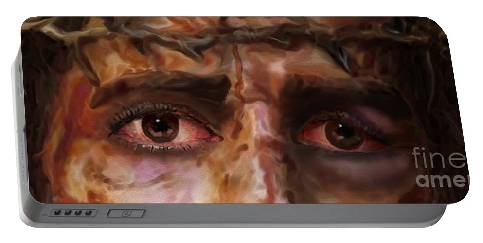The Fire Of Love In Jesus' Eyes Portable Battery Charger featuring the painting The Eyes Of Eternal Love by Todd L Thomas