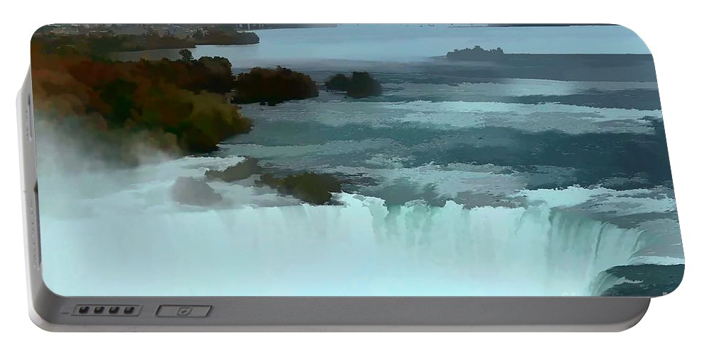 Niagara Falls Photo Portable Battery Charger featuring the photograph The Falls-oil Effect Image by Tom Prendergast