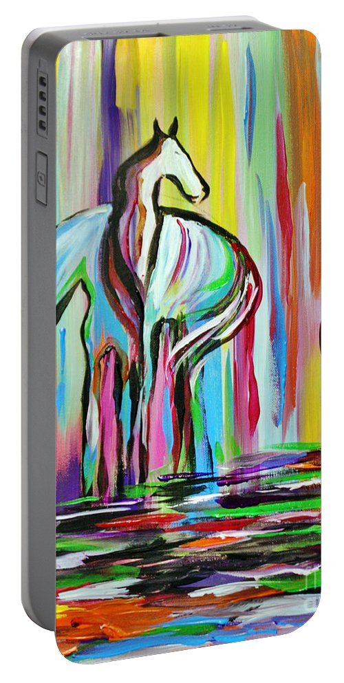Art Portable Battery Charger featuring the painting The Family by Janice Pariza