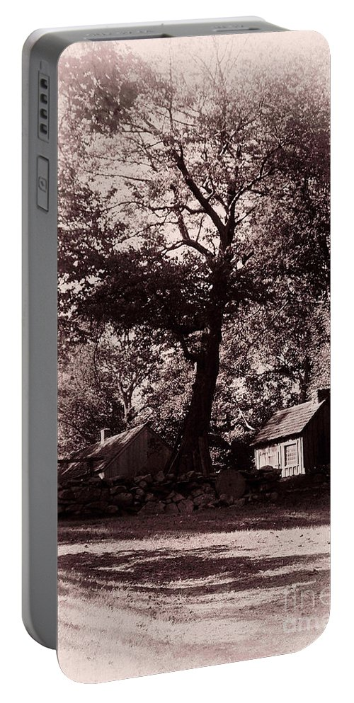 Black And White Portable Battery Charger featuring the photograph The Farm Bristol Rhode Island by Tom Prendergast
