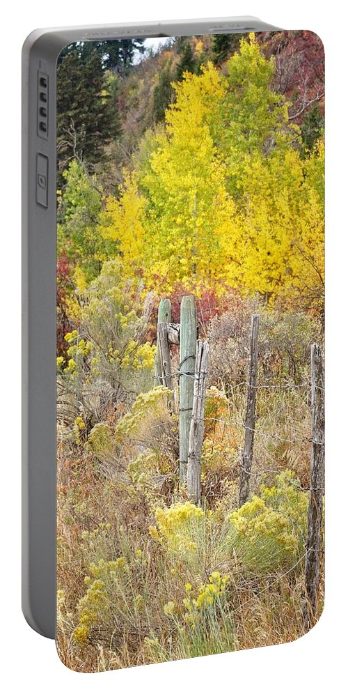 Palisades Portable Battery Charger featuring the photograph The Fence Line by Image Takers Photography LLC - Laura Morgan