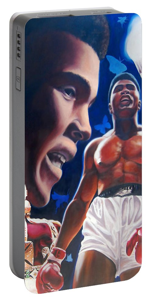 Portrait Portable Battery Charger featuring the painting The Fire The Sting The King by Jerome White