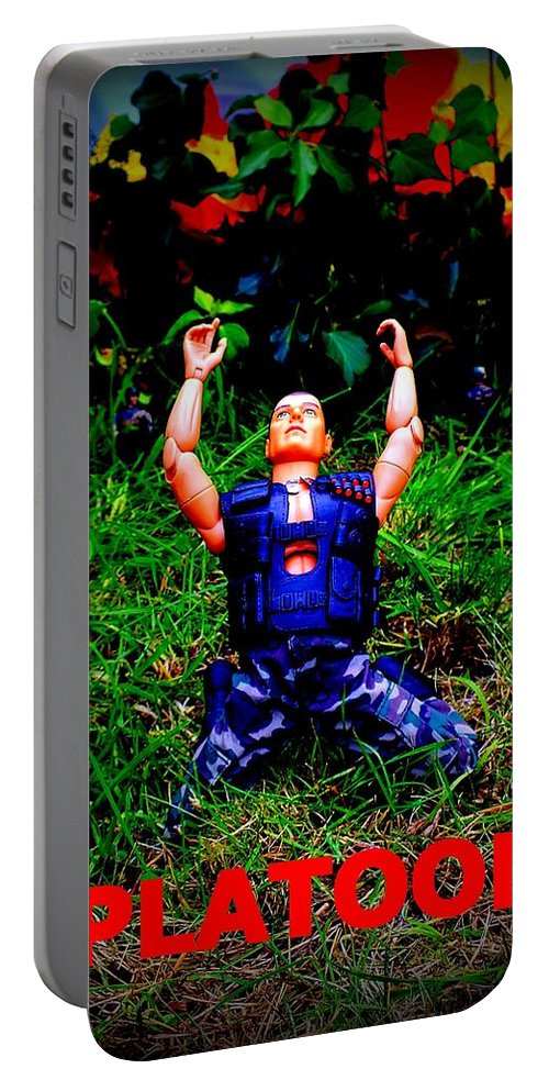 Platoon Willem Dafoe Tom Berenger Movie Vietnam Charlie Sheen Napalm Jungle Soldier Explosion Portable Battery Charger featuring the photograph The First Casualty Of War Is Innocence by Guy Pettingell