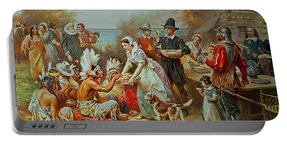 The First Thanksgiving Portable Battery Charger featuring the painting The First Thanksgiving by Jean Leon Gerome Ferris