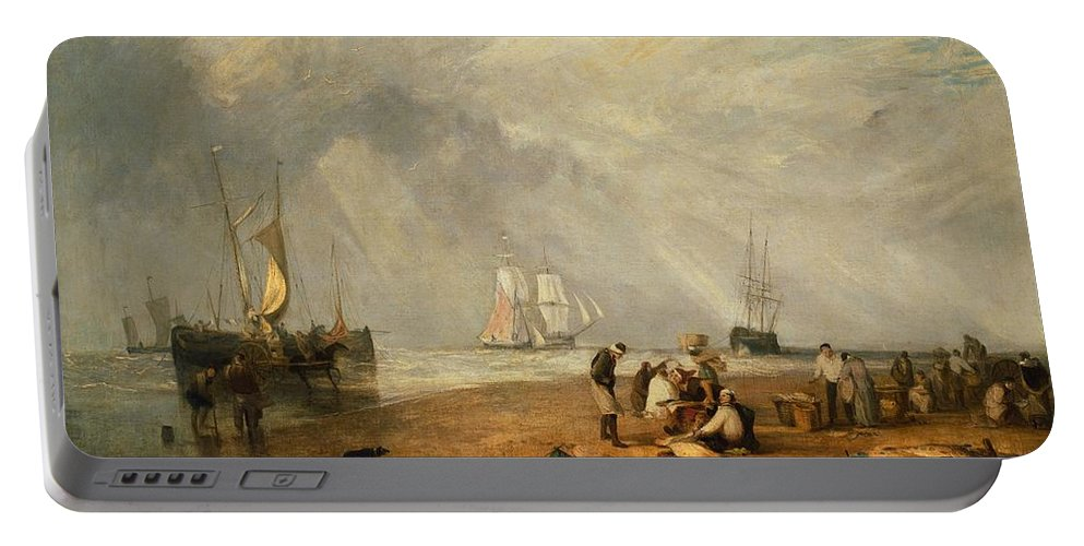 1810 Portable Battery Charger featuring the painting The Fish Market At Hastings Beach by JMW Turner