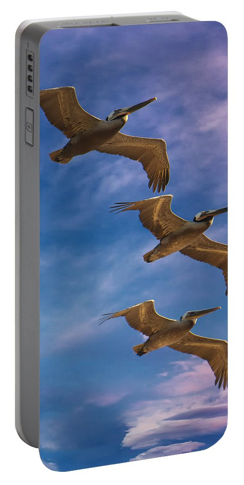 The Flight Of The Pelican Portable Battery Charger featuring the photograph The Flight Of The Pelican by Lena Owens OLena Art