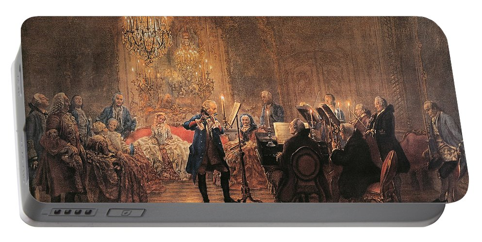 Flute; Concert; Music; Musical; Evening; Performance; Musician; Musicians; Instrument; Instruments; Flutes; Flautist; Piano; Pianist; Violin; Violins; Violinist; Cello; Cellist; Strings; Interior; Grand; Grandiose; Private; Intimate; Candlelit; Candlelight; Candles; Chandelier; Chandeliers; Audience; Seated; Standing; Traditional; Dress; Costume; Music Portable Battery Charger featuring the painting The Flute Concert by Adolph Friedrich Erdmann von Menzel