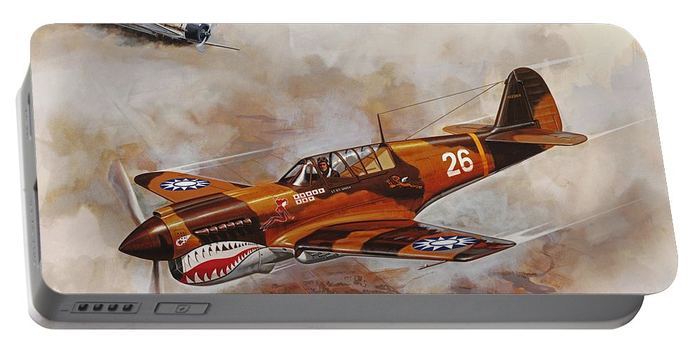 Aircraft Portable Battery Charger featuring the painting The Flying Tigers by Dick Bobnick