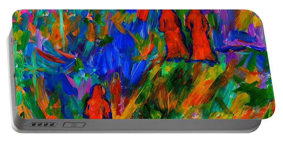 Hooded Figures Portable Battery Charger featuring the painting The Following by Kendall Kessler