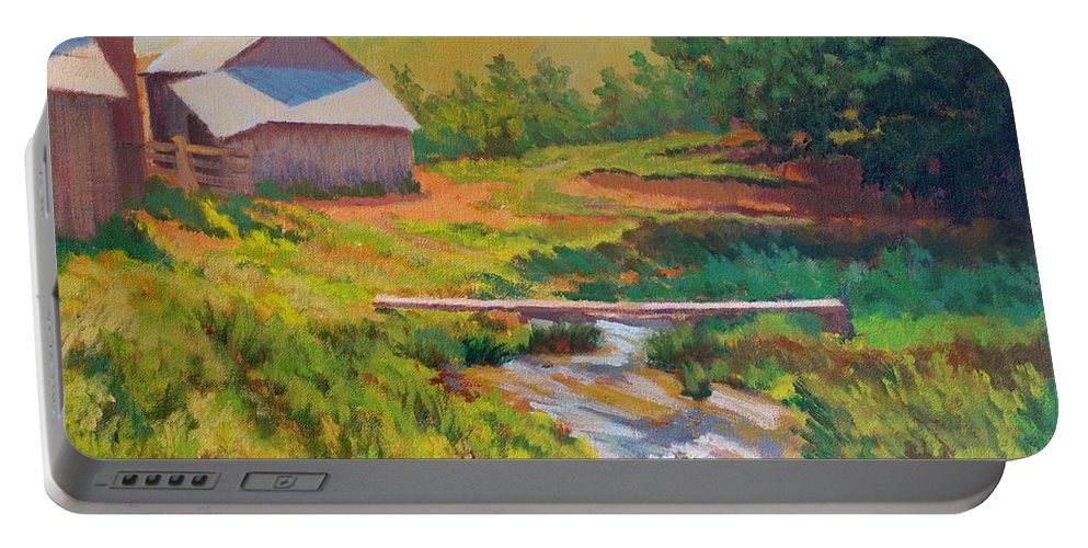 Impressionism Portable Battery Charger featuring the painting The Foot Bridge by Keith Burgess