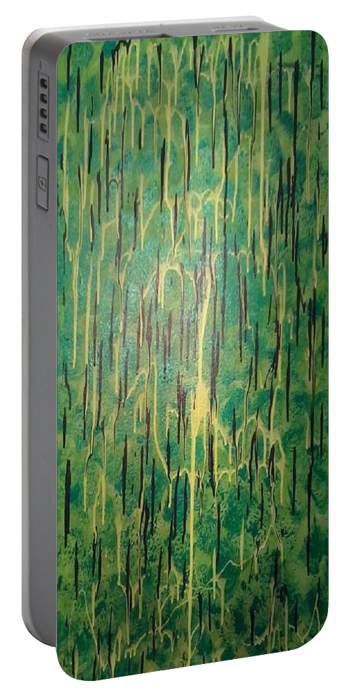 Green Portable Battery Charger featuring the painting The Forrest by Earnestine Clay