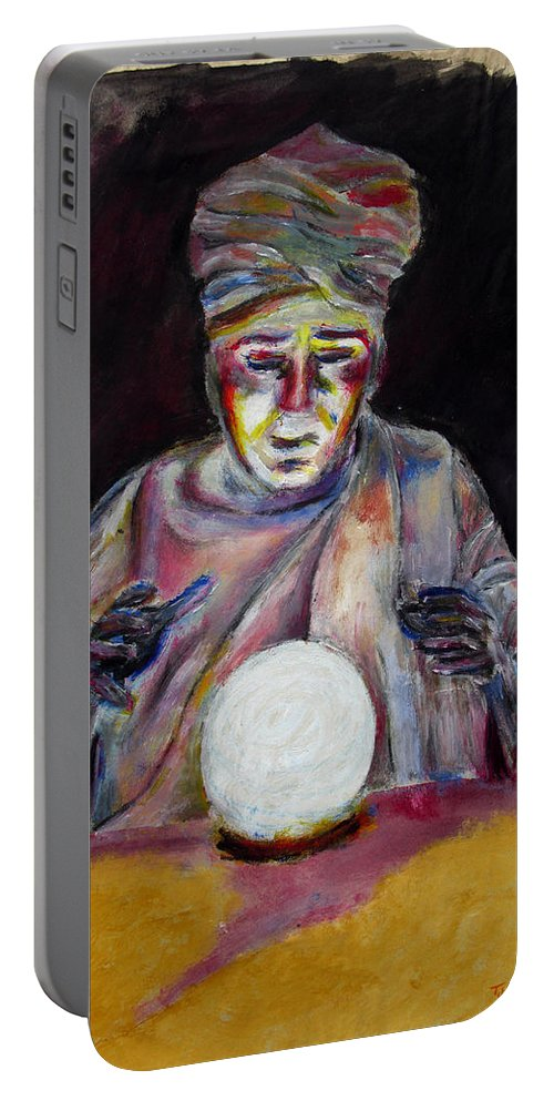 Fortune Tellers Portable Battery Charger featuring the painting The Fortune Teller by Tom Conway