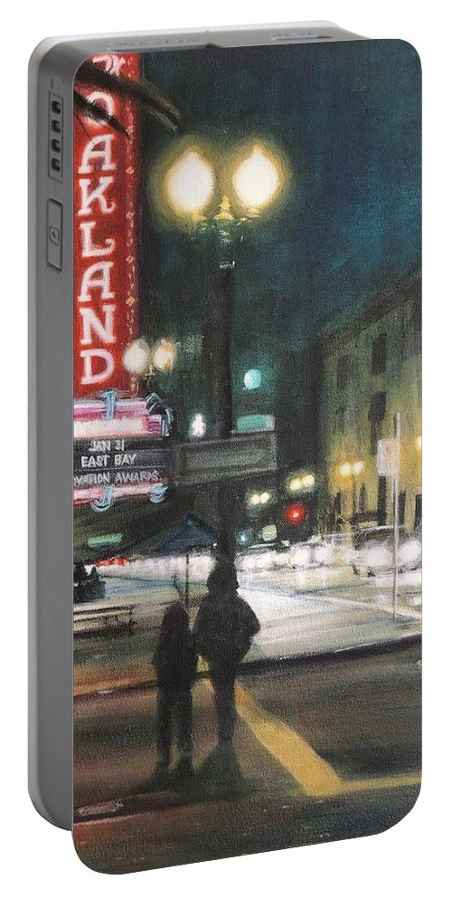 Urban Landscape Portable Battery Charger featuring the painting The Fox by Marianne Bland