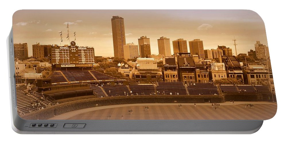 Wrigley Field Portable Battery Charger featuring the photograph The Friendly Confines by Toni Abdnour