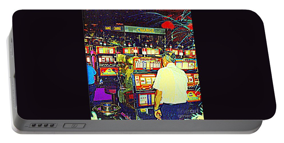 Casinos Portable Battery Charger featuring the painting The Gambler Meets The One Armed Bandit In Casino Royale Standoff At High Noon Urban Casino Art Scene by Carole Spandau
