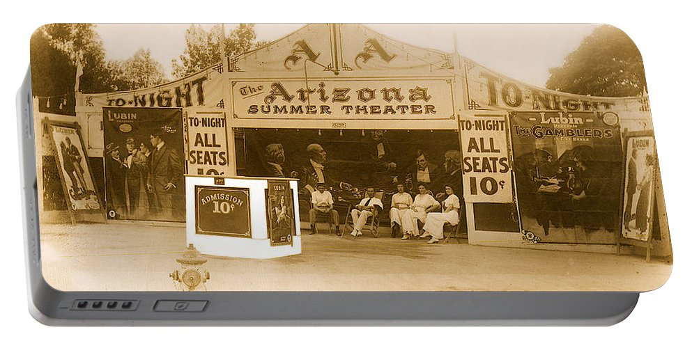 The Gamblers 1914 Lubin The Arizona Summer Theater Tent Tucson Arizona Tucson Opera House Lubin Manufacturing Company Sigmund Lubin Edison Filmed Boxing Matches Philadelphia Portable Battery Charger featuring the photograph The Gamblers 1914 Lubin The Arizona Summer Theater Tent Tucson Arizona 1914-2008 by David Lee Guss