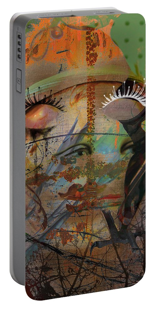 Abstract Art Portable Battery Charger featuring the photograph The Gardian In Roots by The Artist Project