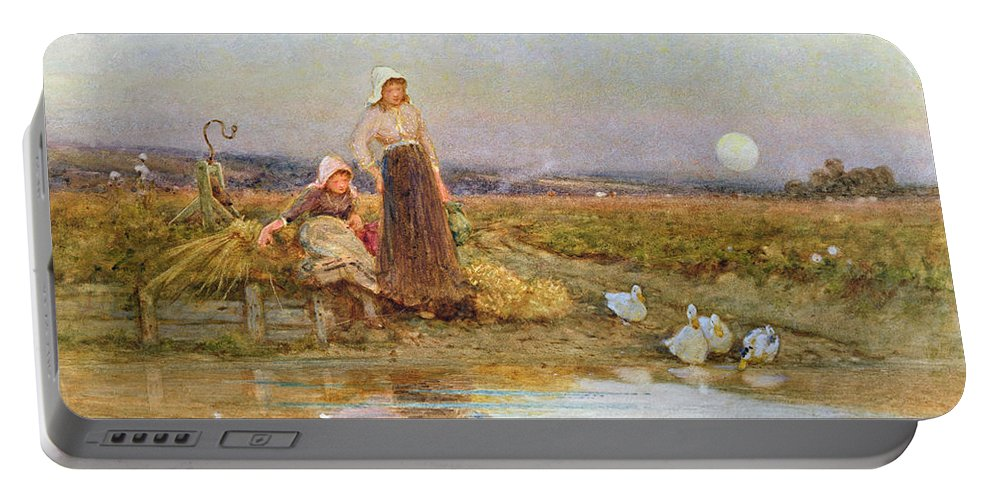 Female Portable Battery Charger featuring the painting The Gleaners by Thomas James Lloyd