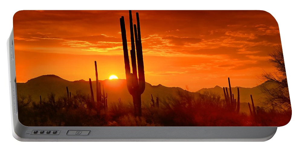 Sunset Portable Battery Charger featuring the photograph The Golden Southwest Skies by Saija Lehtonen