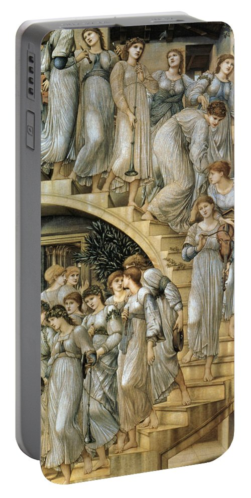 The Golden Stairs Portable Battery Charger featuring the digital art The Golden Stairs by Edward Burne Jones