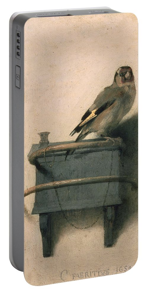 Bird Portable Battery Charger featuring the painting The Goldfinch by Carel Fabritius