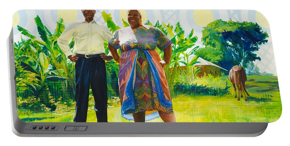 Africa Portable Battery Charger featuring the painting The Good Life by Lynn Hansen