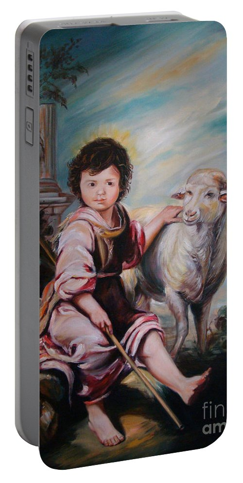 Classic Art Portable Battery Charger featuring the painting The Good Shepherd by Silvana Abel