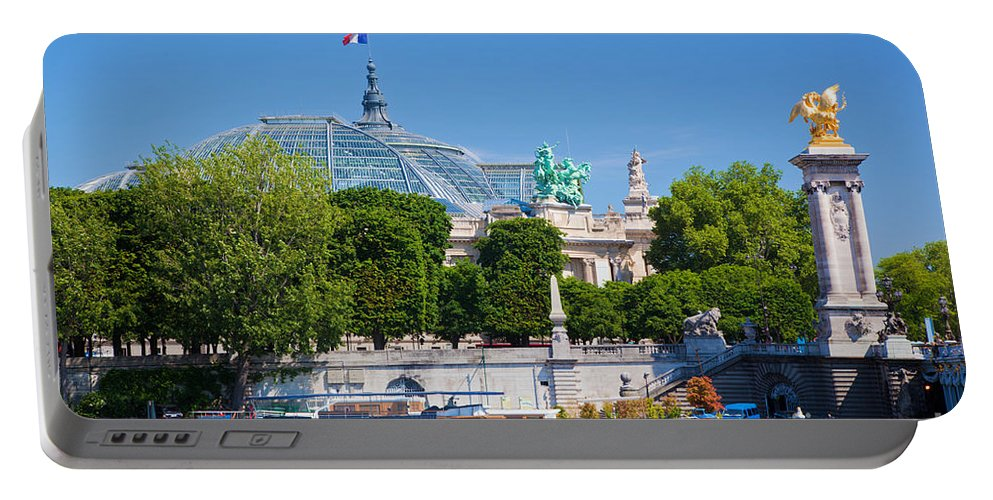 Palais Portable Battery Charger featuring the photograph The Grand Palais And The Alexandre Bridge Paris by Michal Bednarek