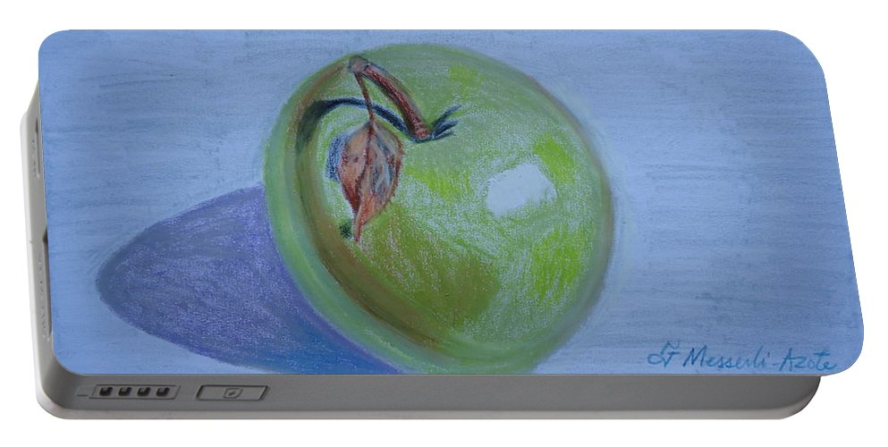 Apple Portable Battery Charger featuring the painting The Green Apple by Fladelita Messerli-