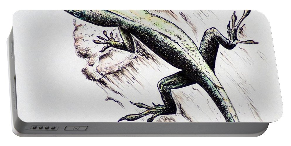 Ink Sketch Portable Battery Charger featuring the drawing The Green Lizard by Katharina Filus