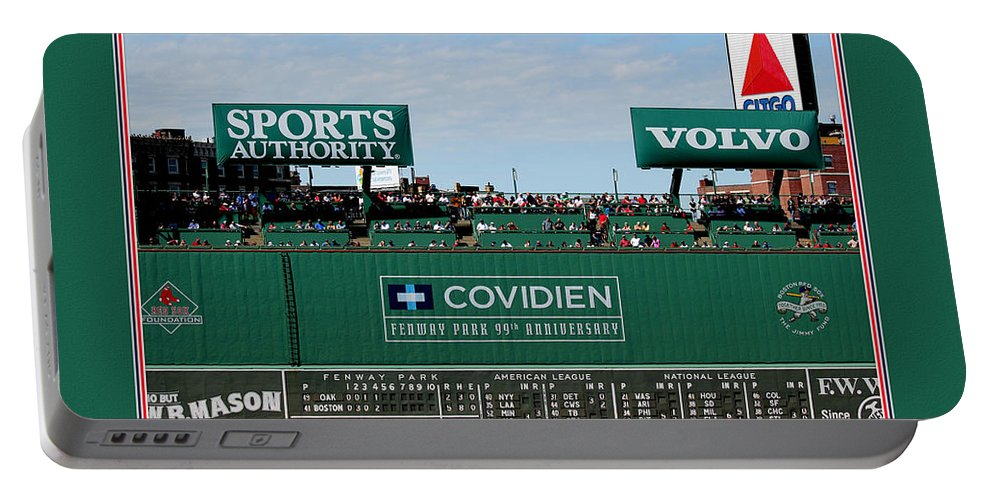 Tom Prendergast Travel Destination America Portable Battery Charger featuring the photograph The Green Monster Fenway Park by Tom Prendergast