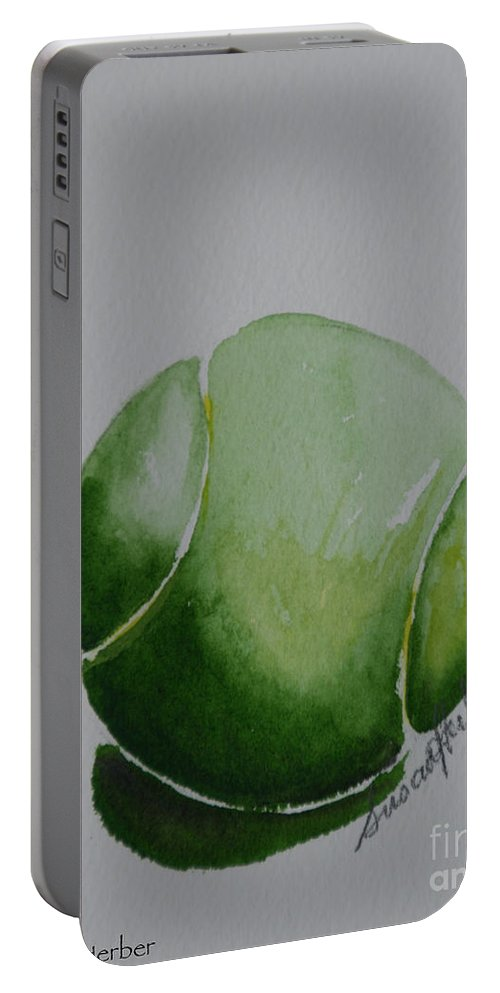 Tennis Ball Portable Battery Charger featuring the painting The Green One by Susan Herber