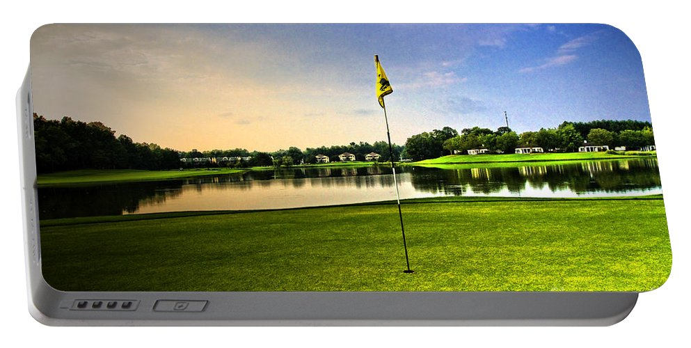 Golf Course Portable Battery Charger featuring the photograph The Green by Scott Pellegrin