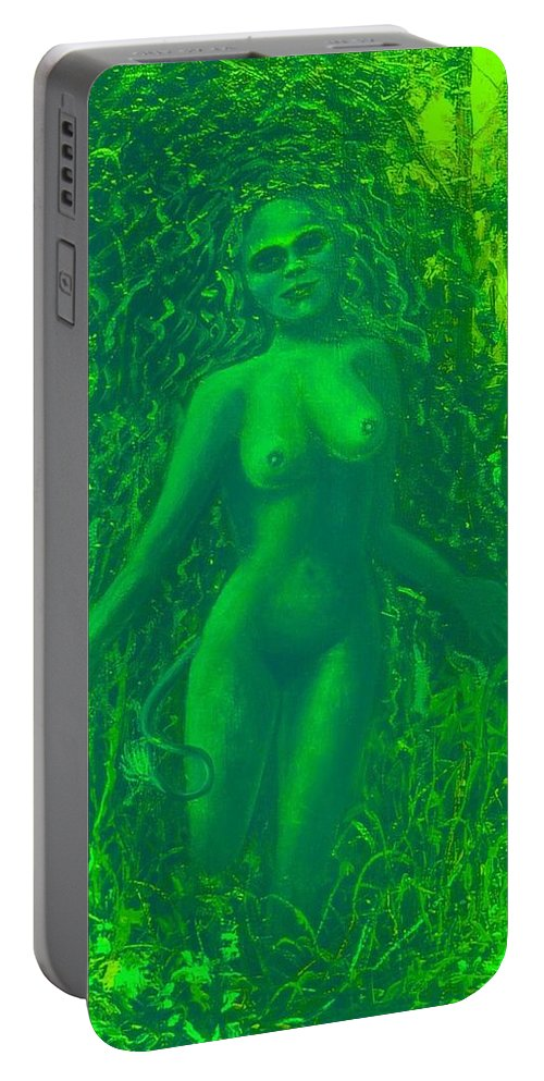 Genio Portable Battery Charger featuring the mixed media The Green Wood Nymph Calls by Genio GgXpress