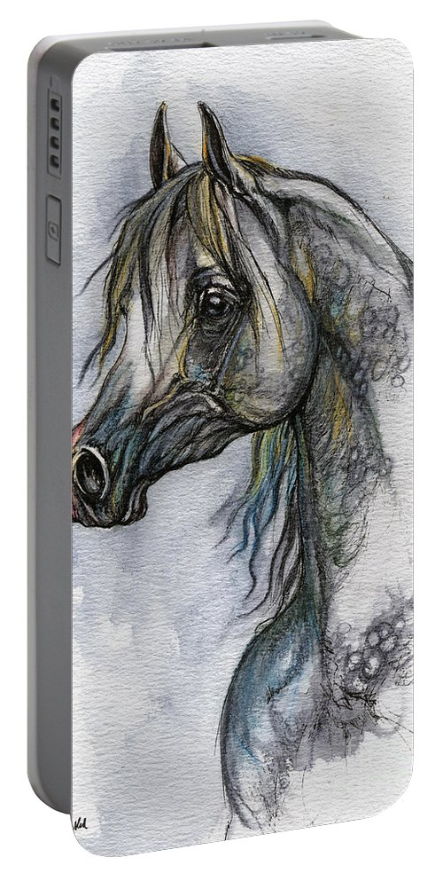 Watercolor Portable Battery Charger featuring the painting The Grey Arabian Horse 10 by Angel Ciesniarska