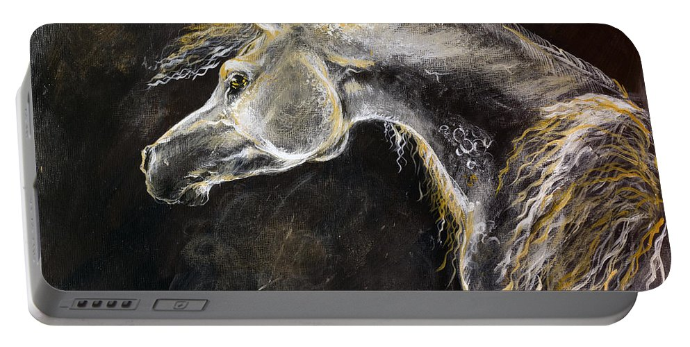 Horse Portable Battery Charger featuring the painting The Grey Arabian Horse 9 by Angel Ciesniarska