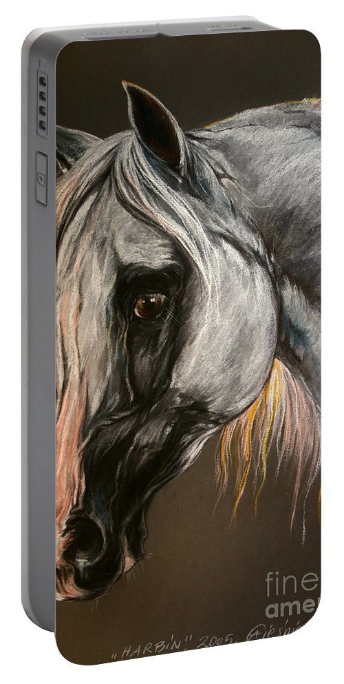 Horse Portable Battery Charger featuring the drawing The Grey Arabian Horse by Angel Ciesniarska