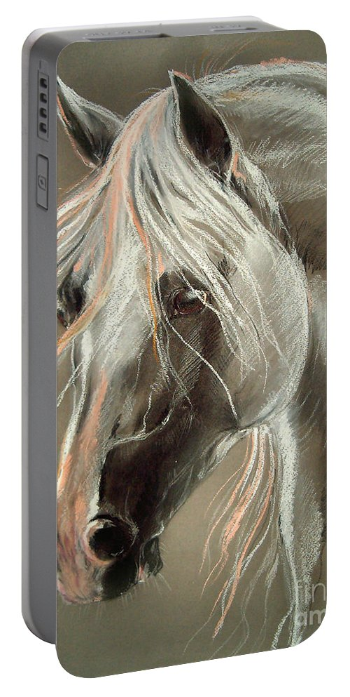 Pastel Portable Battery Charger featuring the drawing The Grey Horse Soft Pastel by Angel Ciesniarska