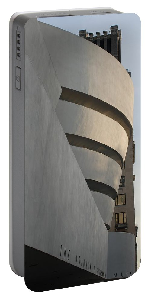 Scenic Portable Battery Charger featuring the The Guggenheim by Rob Hans