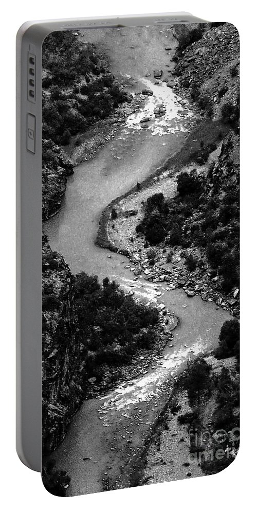 Landscape Portable Battery Charger featuring the digital art The Gunnison Bw by Tim Richards