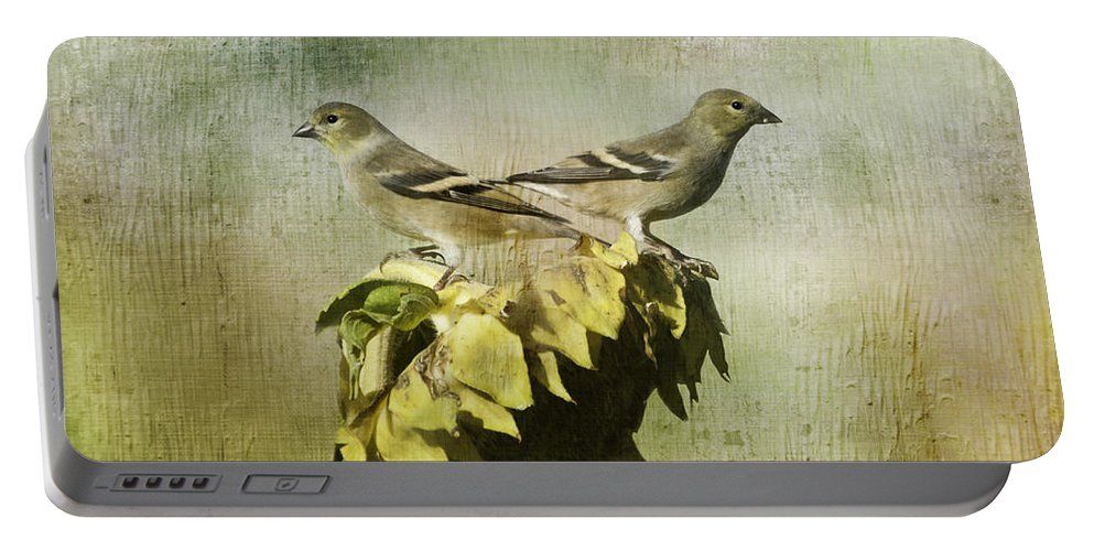Finches Portable Battery Charger featuring the photograph The Harvesters by Diane Schuster