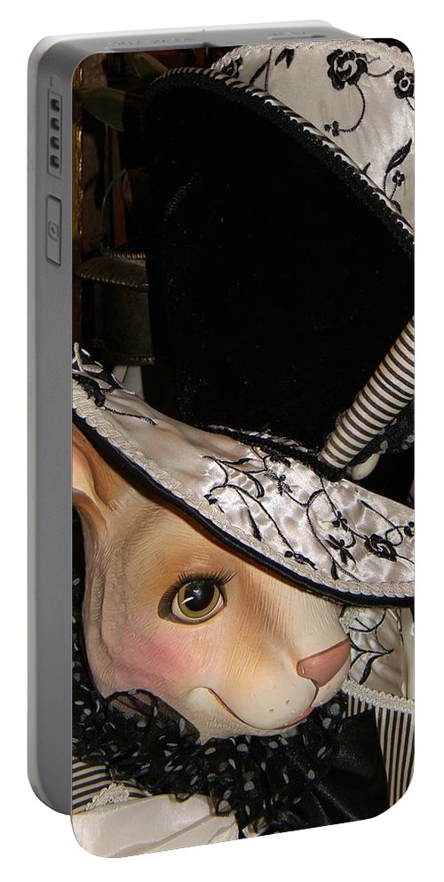 Whimsical Portable Battery Charger featuring the photograph The Hat by Jean Goodwin Brooks