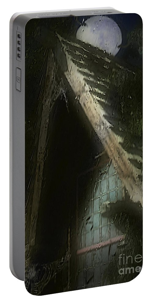 House Portable Battery Charger featuring the painting The Haunted Gable by RC DeWinter