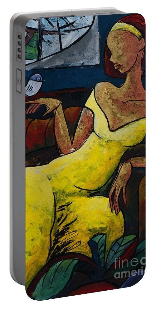 Love Portable Battery Charger featuring the painting The Healing Process - From The Eternal WHYs series by Elisabeta Hermann