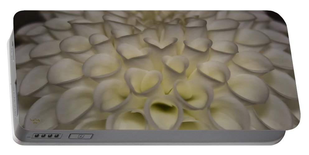 Flower Portable Battery Charger featuring the photograph The Heart Of A Dahlia by Trish Tritz