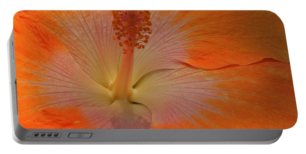 Orange Portable Battery Charger featuring the photograph The Heart Of A Hibiscus by Kris Hiemstra