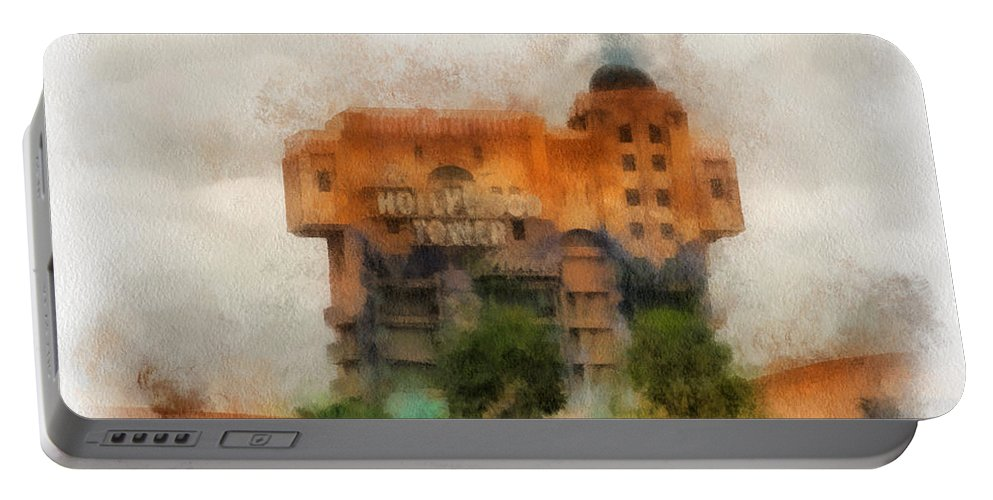 Disney Portable Battery Charger featuring the photograph The Hollywood Tower Hotel Disneyland Photo Art 01 by Thomas Woolworth