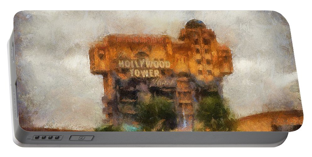 Disney Portable Battery Charger featuring the photograph The Hollywood Tower Hotel Disneyland Photo Art 02 by Thomas Woolworth