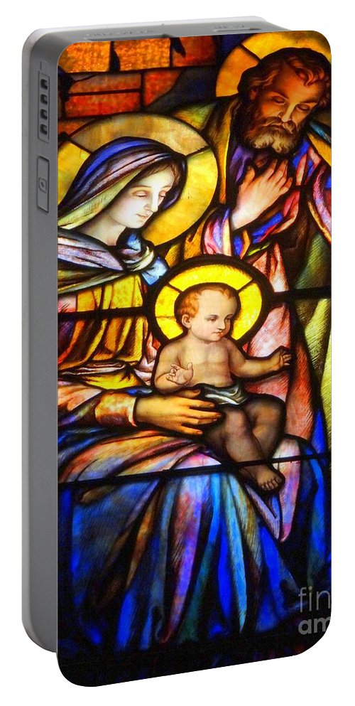 Stained Glass Portable Battery Charger featuring the photograph The Holy Child by Ed Weidman